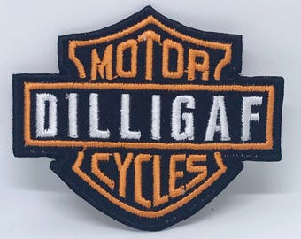 1299# DILLIGAF Motor Cycles Logo Iron/Sew on Embroidered Patch