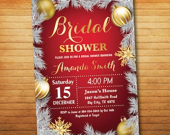 Winter Bridal Shower Invitation. Wedding Shower. Couples Shower. Red and Gold Glitter. Christmas Holiday Shower. Printable Digital.