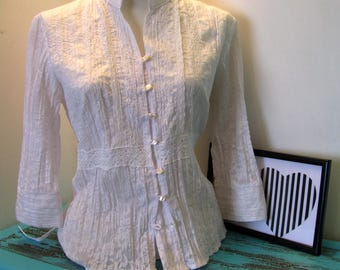 Vintage White Blouse White Cotton Blouse Victorian Style Blouse Sweet Lolita Lace Embroidered Blouse Back To School Pastel Goth