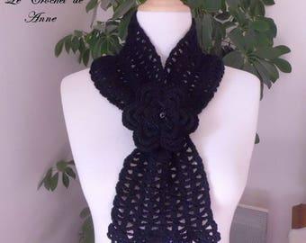Black scarf slide, adorned with a flower brooch!