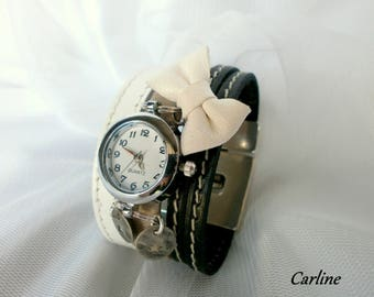 Wristwatch * Cyrius * black white original Taupe leather bow