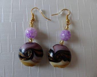 Pair of purple Murano glass earrings