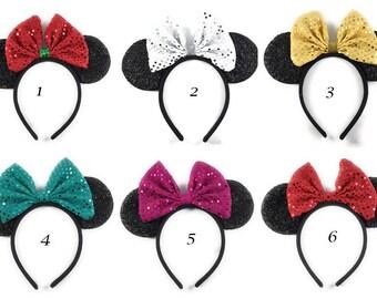 Minnie Mouse ears headbands, Minnie mouse Ears, Sparkly Minnie Ears, Minnie mouse ears headband sequin, Disney Ears, , Mickey mouse ears