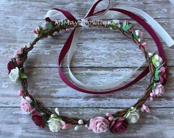 Burgundy flower crown, flower crown burgundy, floral wedding crown, flower girl crown, burgundy flower headband, bridesmaids flower crown