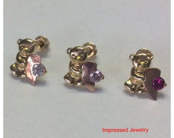 14k Yellow real Gold Color CZ Teddy Bear Stud Earrings with Half Heart with Screwback