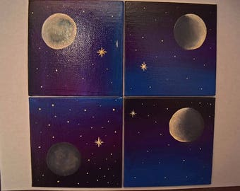 4 Phases of the Moon Painted on 4 X4 Canvas Panels Set of 4