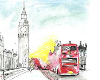 London, Big Ben, Sunny Day, Red Bus, London Eye, Tower