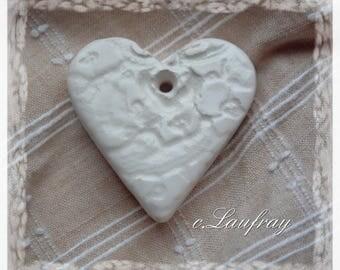 Small ceramic heart, white lace print