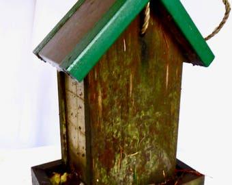 Vintage Redwood and Copper Bird Feeder