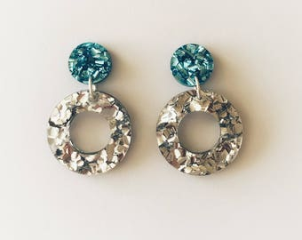 Baby Blue Lux Glitter Dot and Silver Lux Glitter Dangle Earrings