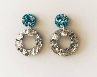 Baby Blue Lux Glitter Dot and Silver Lux Glitter Dangle Earrings