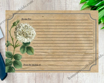 Vintage Rose Recipe Cards in 4x6 and 3x5 - Instant Downlaod
