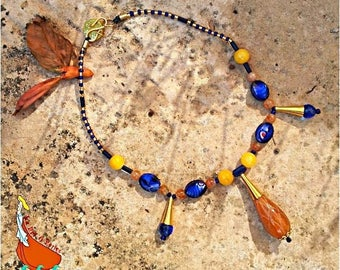 """""""Sunset"""" engraved agate pendant and beads necklace with long golden brown yellow indigo blue"""