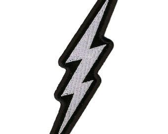 Silver Metallic Lightening Bolt Patch