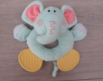 cuddly plush elephant rattle for child