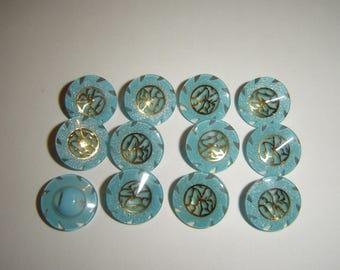 6 buttons blue & gold / / 15 mm