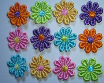 SET OF 12 BRIGHT COLORFUL DAISIES FLOWERS