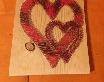 Red & Maroon Double Heart String Art