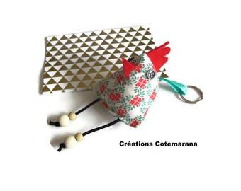 Keychain berlingot houndstooth printed fabric sheets with double ring