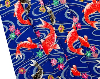Fabric fish - Pattern fabric - fabric blue fish - carp fabric - Coupon 50x50cm - fish TU150