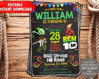 Ben 10 Invitation / Ben 10 Birthday Invitation / Ben 10 Invite / Ben 10 Birthday / Ben 10 Party / Ben 10 Card / Ben 10 Printable / Ben 10 SS
