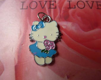 Pink bow kit cat pendant charm enamel on metal silver for creating jewelry