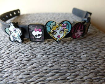 Bracelet monster high silicone with 5 pearls figurines