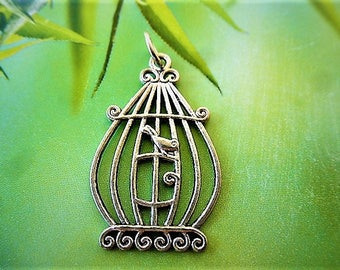 mounted on ring Tibetan silver bird cage charm