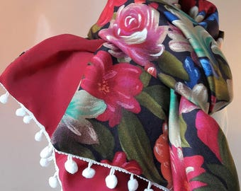 flowers scarf and Red