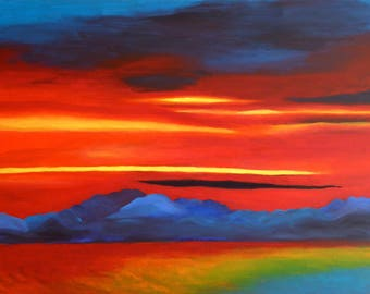 Sunset at Lake Constance, Original Oil Painting