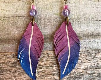Leather Earrings, Leather Feather earrings, Hand-dyed leather earrings, Beaded feather earrings , Boho earrings , Western earrings ,
