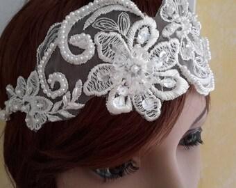 Adjustable headband lace embroidered