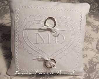 Embroidered and personalized with your initials wedding ring pillow