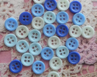 Blue round buttons 9 mm in diameter (for 30 buttons), 4 holes in acrylic
