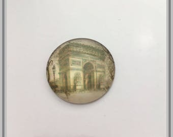 glass cabochon illustrated Arch of triumph on old postcard, 25mm