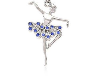charm pendant silver dancer ballerina, dark blue rhinestones and bail to the unit