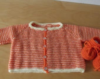 sweater striped orange and yellow chicks baby from 0 to 3 months