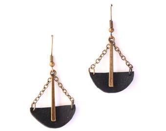 Geometric earrings - recycled bicycle inner - geometric jewelry