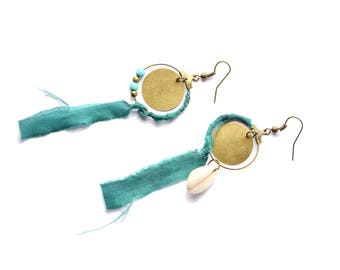Ethnic earrings and asymmetrical rings hoops - Sari silk recycled Turquoise
