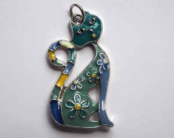 Beautiful cat tone turquoise, blue and yellow enameled metal pendant