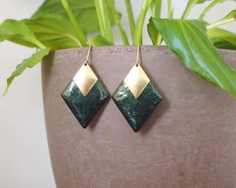 Diamond Earrings green croco - enameled jewelry