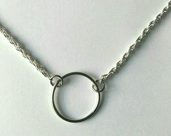 Silver ring minimalist circle necklace