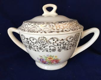 Vintage French Saxon China Sugar Bowl 22K Gold Lace Pattern with Floral Motiff