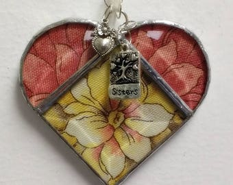 Stained Glass Heart Sisters ~ Golden Yellow and Blush Flower Heart ~ 3.5  Inches  with Sister and Heart Charms