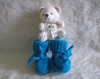 set of 2 pairs of baby booties (white Turquoise)