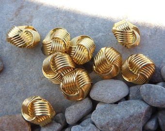 set of 9 round buttons fancy octagon shaped knotted braid, plastic injected gold-tone metal look