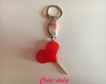 Lollipop heart keychain