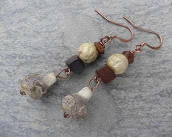 """Earrings """"mineral"""" poetic rustic - stone, wood, antique glass"""