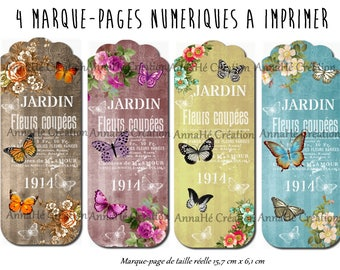 "4 bookmarks digital print ""La ronde butterflies"", collage digital butterfly, Bohemian, vintage"