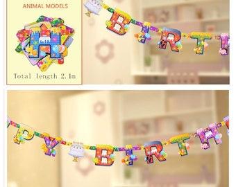 Happy Birthday Banner Animal Models, Birthday Decoration, Happy Birthday Sign,  Birthday, Classic Birthday Decor Mini Burlap Banner